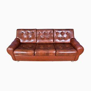 Sofá de tres plazas danés Mid-Century de cuero sintético marrón y coñac