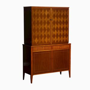 Mahogany Cabinet with Veneer Inlay by Ferdinand Lundquist, 1950s