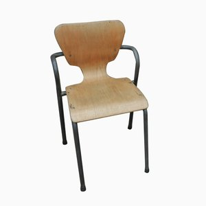 Vintage Metal & Curved Wood Children's Chair