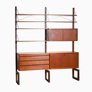 Unidad de pared de teca con mueble bar de Poul Cadovius para Cado, años 60