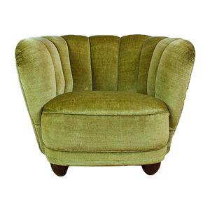 Art Deco Green Velour Lounge Chair