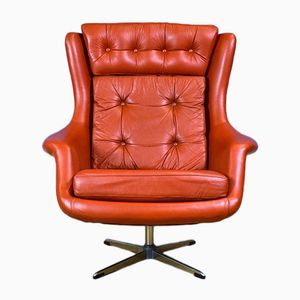 Mid-Century Danish Red Leather Swivel Lounge Chair