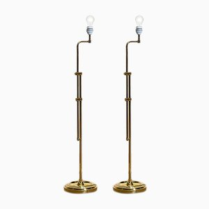 Tall Hollywood Regency Swedish Brass Swing Arm Floor Lamps from Örsjö Belysning, 1970s, Set of 2
