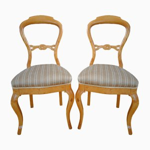 Antique Swedish Birch Chairs, Set of 2