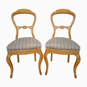 Antique Swedish Birch Chairs, Set of 2