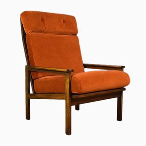Mid-Century Danish Velvet & Oak High-Back Capella Lounge Chair by Illum Wikkelsø for Niels Eilersen