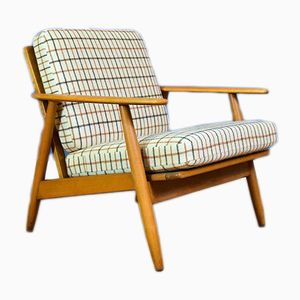 Mid-Century Danish Wool & Beech Open Frame Lounge Chair, 1960s