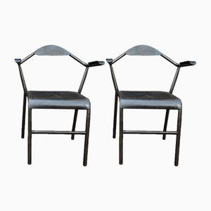 Vintage Industrial Metal & Bakelite Armchairs, 1950s, Set of 2