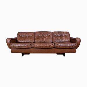 Sofá de tres plazas danés Mid-Century de cuero marrón de Madsen & Schubell, años 70