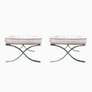 Vintage Barcelona Poufs by Ludwig Mies Van Der Rohe, Set of 2