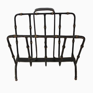 Vintage Leather Magazine Rack by Jacques Adnet