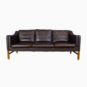 Mid-Century Danish Brown Leather 3-Seater Sofa from Skippers