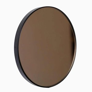 Small Round Bronze Tinted Orbis Mirror with Black Frame by Alguacil & Perkoff Ltd