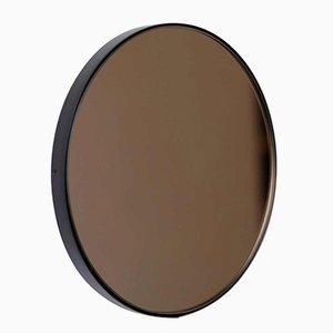 Kleiner runder Orbis Spiegel mit getöntem Glas & schwarzem Rahmen von Alguacil & Perkoff Ltd