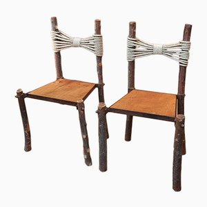 Vintage Wood & Rope Chairs, 1950s, Set of 2