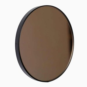 X-Large Round Bronze Tinted Orbis Mirror with Black Frame by Alguacil & Perkoff Ltd