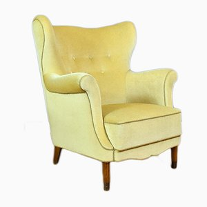 Mid-Century Danish Yellow Velour Lounge Chair, 1950s