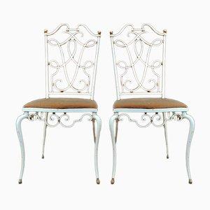 Stühle mit Gestell aus Schmiedeeisen & Stoffsitz, 1940er, 2er Set