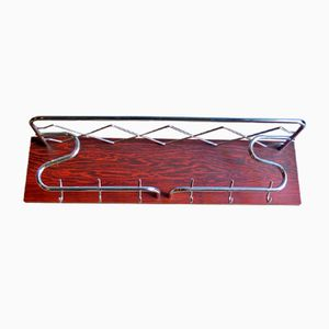 Art Deco Chrome & Rosewood Veneer Coat Rack, 1950s