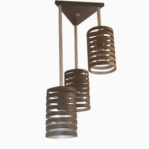 Hängelampe mit gestuften & geometrischen Schirmen aus Metall, 1960er
