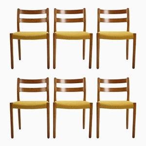 Nr. 84 Esszimmerstühle aus Eiche von N.O. Møller für J.L. Møllers, 1960, 6er Set