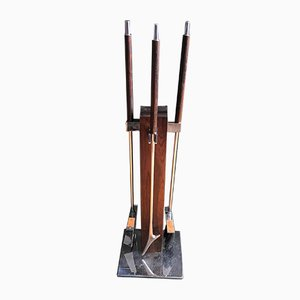 Rosewood & Chrome Fireplace Tool Set from Alessandro Albrizzi