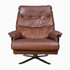 Mid-Century Swedish Brown Leather Swivel Armchair by Arne Norell for Vatne Møbler, 1970s