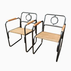 Beistellstühle aus Metall & Eiche, 1920er, 2er Set