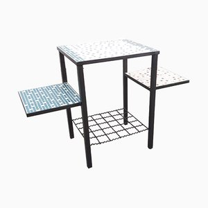 Ceramic Mosaic & Metal Side Table, 1950s