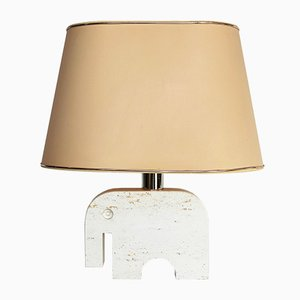 Italian Travertine Marble Elephant Table Lamp by Fratelli Manelli for Signa, 1970s
