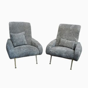 Mid-Century Grey Lounge Chairs, Set of 2