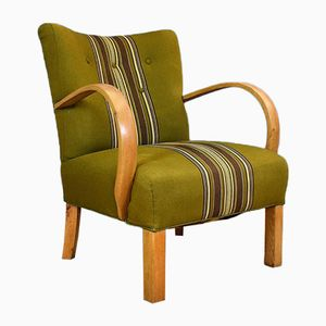 Vintage Danish Oak & Green Wool Club Chair, 1930s