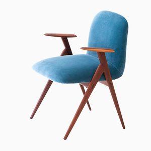 Schreibtischstuhl mit blauem Samtbezug & Gestell aus Palisander, 1950er