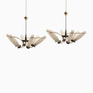 Lámparas de araña italianas de vidrio y latón, años 50. Juego de 2