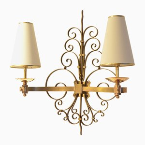 Large French Art Deco Full Brass Wall Sconce, 1920s