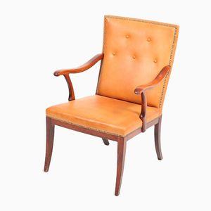 Chaise Vintage en Cuir Patiné par Frits Henningsen, 1940s