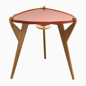 Dreibeiniger französischer Beistelltisch mit rot lackierter Tischplatte, 1950er