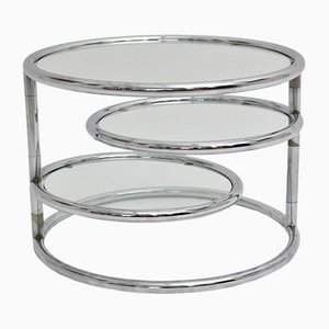 Vintage Chromed Round Swiveling Coffee Table