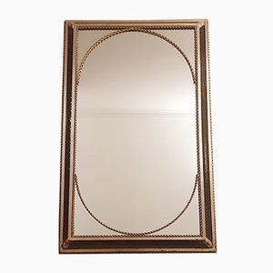 Espejo de pared de latón perforado iluminado, años 50