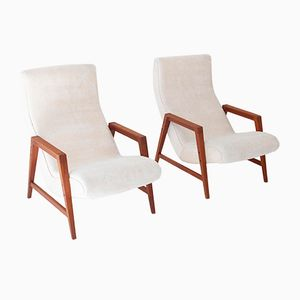 Italian Modern Beige Velvet and Teak Armchairs, 1950s, Set of 2