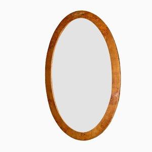 Espejo italiano Art Déco oval de madera nudosa, años 30