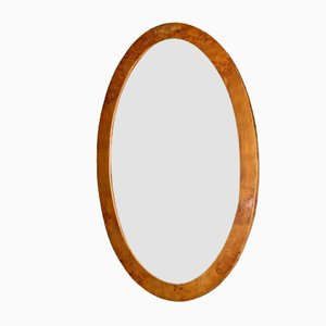 Oval Art Deco Italian Burl Wood Mirror, 1930s