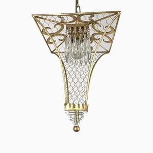 Golden Iron and Crystal Lantern Ceiling Lamp, 1990s