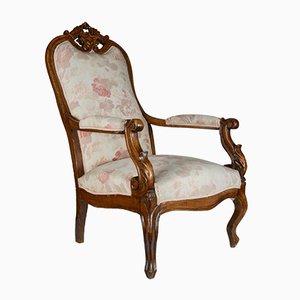 Antique Italian Walnut Armchair, 1880s