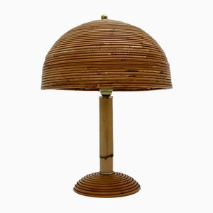 Bamboo Table Lamp with Brass Details, 1970s