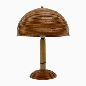 Lámpara de mesa de bambú con detalles de latón, años 70