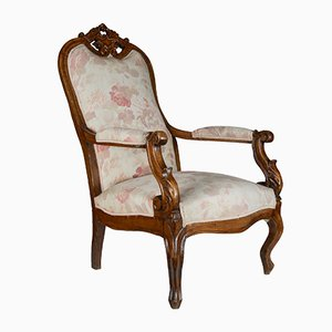 Antique Italian Walnut Armchair, 1880s