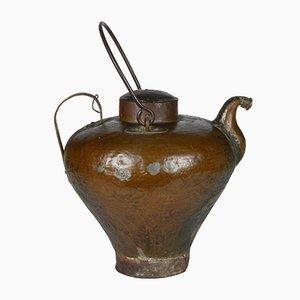 Botijo de agua italiano antiguo de cobre, década de 1800