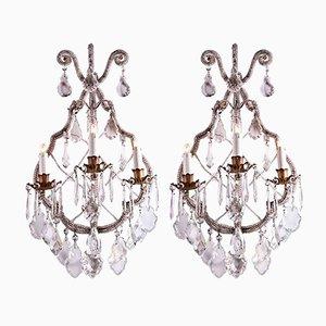 Antike Wandlampen aus Kristallglas, 2er Set