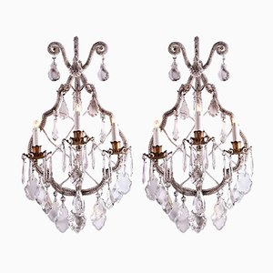 Antique Crystal Wall Lights, Set of 2